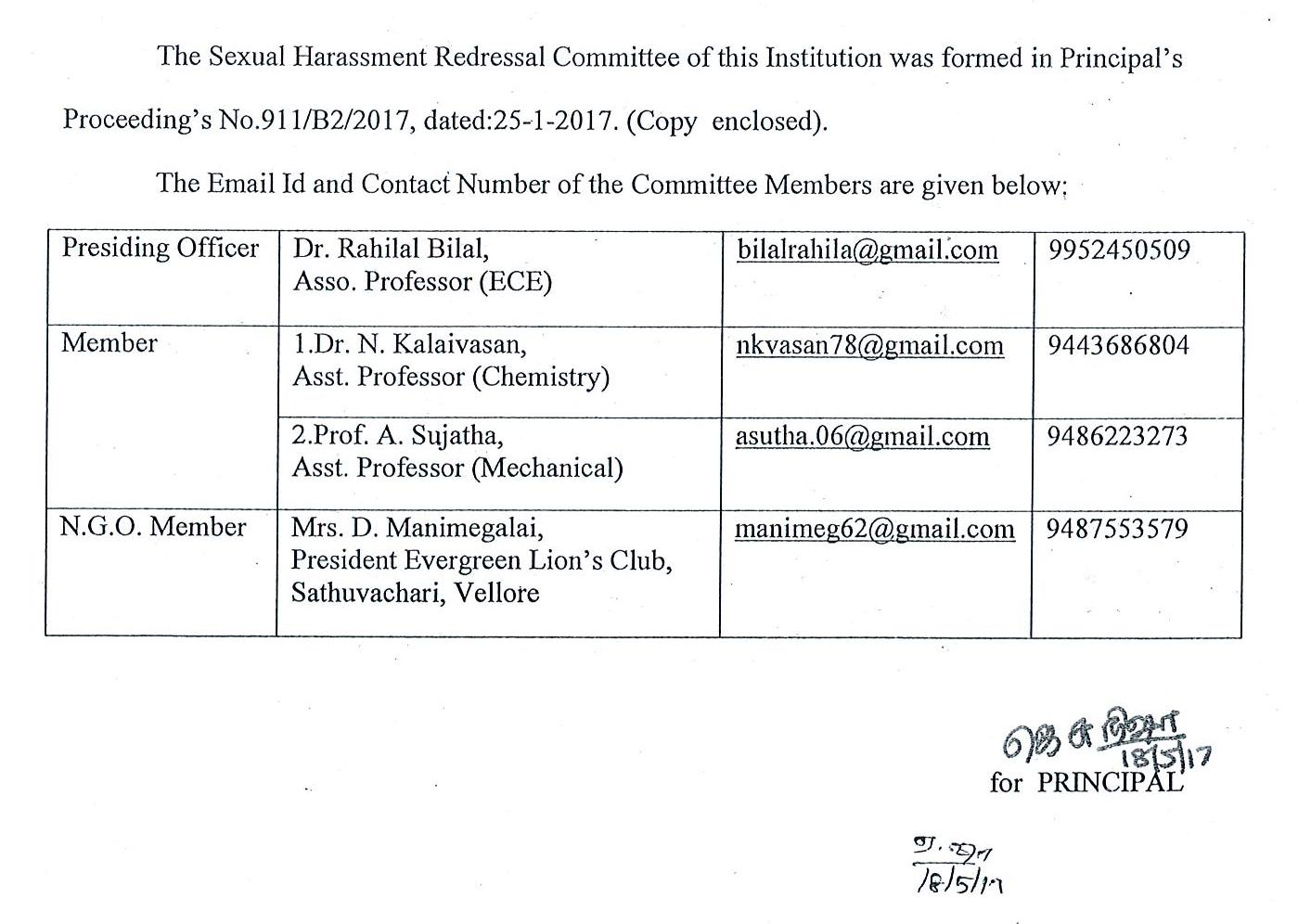 Sexual Harassment Redressal Committee